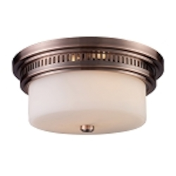 "Chadwick Collection 2-Light 13"" Antique Copper Flush Mount with White Glass 66141-2"