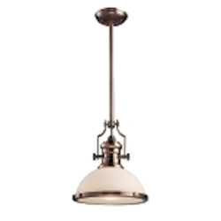"Chadwick Collection 1-Light 14"" Antique Copper Pendant with White Glass 66143-1"