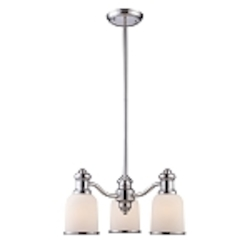 "Brooksdale Collection 3-Light 20"" Polished Chrome Mini Chandelier with White Glass 66152-3"