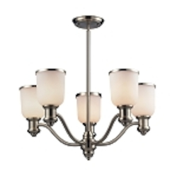 "Brooksdale Collection 5-Light 25"" Satin Nickel Chandelier with White Glass 66163-5"