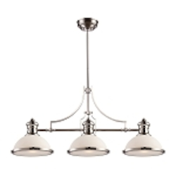 "Chadwick Collection 3-Light 47"" Polished Nickel Island Light with White Glass 66215-3"