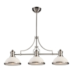 "Chadwick Collection 3-Light 47"" Satin Nickel Island Light with White Glass 66225-3"