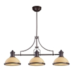 "Chadwick Collection 3-Light 47"" Oiled Bronze Island Light with Amber Glass 66235-3"