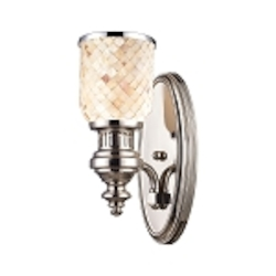 "Chadwick Collection 1-Light 13"" Polished Nickel Wall Sconce with Cappa Shell Glass 66410-1"