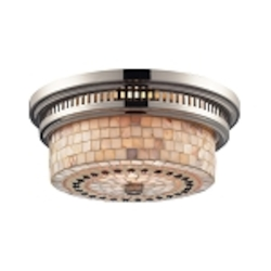 "Chadwick Collection 2-Light 13"" Polished Nickel Flush Mount with Cappa Shell Glass 66411-2"