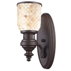 "Chadwick Collection 1-Light 13"" Oiled Bronze Wall Sconce with Cappa Shell Glass 66430-1"
