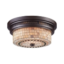 "Chadwick Collection 2-Light 13"" Oiled Bronze Flush Mount with Cappa Shell Glass 66431-2"