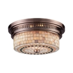 "Chadwick Collection 2-Light 13"" Antique Copper Flush Mount with Cappa Shell Glass 66441-2"