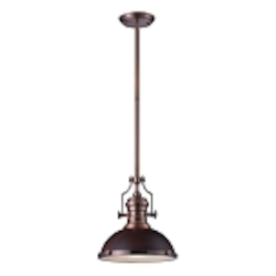 "Chadwick Collection 1-Light 14"" Industrial Antique Copper LED Pendant with Dark Walnut Shade 66546-1-LED"