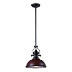 "Chadwick Collection 1-Light 14"" Industrial Oiled Bronze LED Pendant with Dark Walnut Shade 66556-1-LED"
