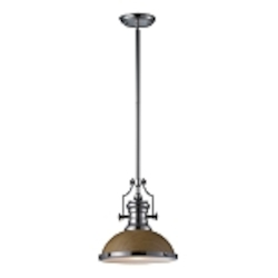 "Chadwick Collection 1-Light 14"" Industrial Polished Nickel LED Pendant with Medium Oak Shade 66564-1-LED"