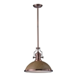 "Chadwick Collection 1-Light 17"" Industrial Antique Copper LED Pendant with Medium Oak Shade 66644-1-LED"