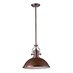 "Chadwick Collection 1-Light 17"" Industrial Antique Copper LED Pendant with Burl Wood Shade 66645-1-LED"
