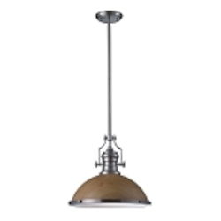 "Chadwick Collection 1-Light 17"" Industrial Satin Nickel Pendant with Medium Oak Shade 66674-1"