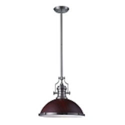 "Chadwick Collection 1-Light 17"" Industrial Satin Nickel LED Pendant with Dark Walnut Shade 66676-1-LED"