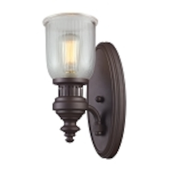 "Chadwick Collection 1-Light 13"" Oiled Bronze Wall Sconce with Ribbed Glass 66760-1"