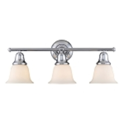 "Berwick Collection 3-Light 27"" Polished Chrome Bathroom Vanity Light with White Glass 67012-3"