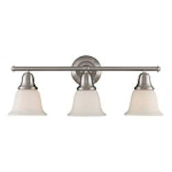 "Berwick Collection 3-Light 27"" Brushed Nickel Bathroom Vanity Light with White Glass 67022-3"