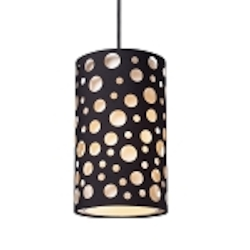 "Enchantment Collection 1-Light 10"" Mini Pendant with Matte Black Fabric Shade 68000-1"