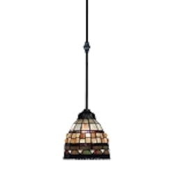 "Jewelstone Collection 1-Light 7"" Classic Bronze Mini Pendant with Tiffany Style Glass 683-CB"