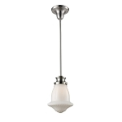 "Schoolhouse Collection 1-Light 12"" Satin Nickel Mini Pendant with Textured White Glass 69029-1"