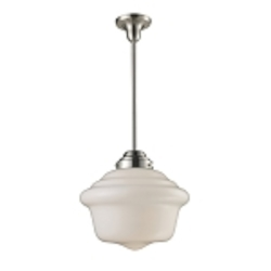 "Schoolhouse Collection 1-Light 17"" Satin Nickel Pendant with White Glass 69040-1"
