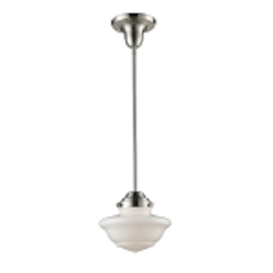 "Schoolhouse Collection 1-Light 8"" Satin Nickel Mini Pendant with White Glass 69042-1"