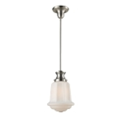 "Schoolhouse Collection 1-Light 14"" Satin Nickel Mini Pendant with White Glass 69043-1"