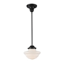 "Schoolhouse Collection 1-Light 8"" Oiled Bronze Mini Pendant with White Glass 69052-1"
