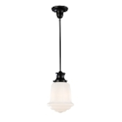 "Schoolhouse Collection 1-Light 14"" Oiled Bronze Mini Pendant with White Glass 69053-1"
