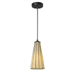 "Lumino Collection 1-Light 12"" Mini Pendant with Hazy Beige Tiffany Style Glass 70000-1HB"