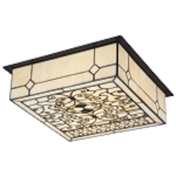 "Adamson Collection 2-Light 14"" Matte Black Flush Mount with Tiffany Style Glass 70007-2"