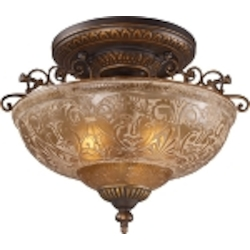 "Restoration Collection 3-Light 19"" Antique Golden Bronze Semi-Flush with Antique Ivory Glass 08099-AGB"