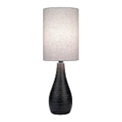 "Quatro Collection 1-Light 27"" Brushed Dark Bronze Table Lamp with Linen Shade LS-2997"