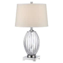 "Lotuz Collection 1-Light 26"" Acrylic Base Table Lamp LS-22083C/WHT"