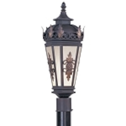 "Berkshire Collection 1-Light 22"" Bronze Outdoor Post Lantern with Antique Honey Linen Glass 2194-07"