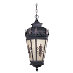 "Berkshire Collection 1-Light 25"" Bronze Outdoor Hanging Lantern with Antique Honey Linen Glass 2195-07"