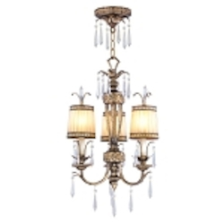 "La Bella Collection 3-Light 28"" Vintage Gold Leaf Mini Chandelier or Semi-Flush Mount with Gold Dust Glass Shades and Crystal 8803-65"
