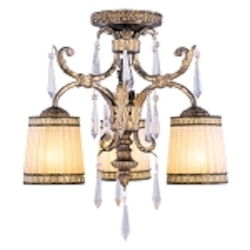 "La Bella Collection 3-Light 19"" Vintage Gold Leaf Semi-Flush Mount with Gold Dust Glass Shades and Crystal 8804-65"