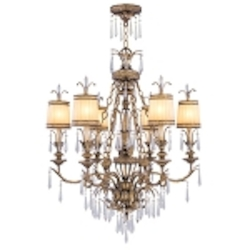 "La Bella Collection 6-Light 41"" Vintage Gold Leaf Chandelier with Gold Dust Glass Shades and Crystal 8806-65"