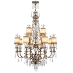 "La Bella Collection 12-Light 55"" Vintage Gold Leaf Chandelier with Gold Dust Glass Shades and Crystal 8809-65"