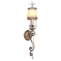 "La Bella Collection 1-Light 29"" Vintage Gold Leaf Wall Sconce with Gold Dust Glass Shade and Crystal 8811-65"