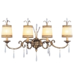 "La Bella Collection 4-Light 34"" Vintage Gold Leaf Bathbar with Gold Dust Glass Shades and Crystal 8814-65"