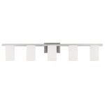 "Astoria Collection 5-Light 44"" Brushed Nickel Bath Light with Hand Blown Satin White Glass 1335-91"