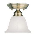 "Essex Collection 1-Light 6"" Antique Brass Ceiling Mount with White Alabaster Glass 1350-01"