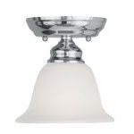 "Essex Collection 1-Light 6"" Chrome Ceiling Mount with White Alabaster Glass 1350-05"