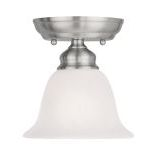 "Essex Collection 1-Light 6"" Brushed Nickel Ceiling Mount with White Alabaster Glass 1350-91"