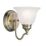 "Essex Collection 1-Light 6"" Antique Brass Bath Light with White Alabaster Glass 1351-01"