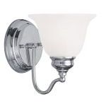 "Essex Collection 1-Light 6"" Chrome Bath Light with White Alabaster Glass 1351-05"