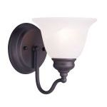 "Essex Collection 1-Light 6"" Bronze Bath Light with White Alabaster Glass 1351-07"